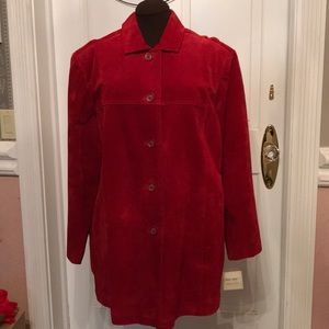 Red genuine suede jacket